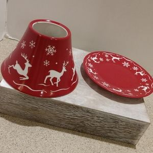 Yankee Candle Shade And Plate Xmas Reindeer